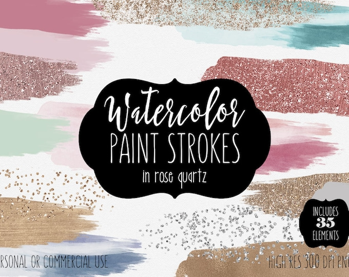 WATERCOLOR & ROSE GOLD Confetti Brush Strokes Clipart Commercial Use Clip Art 35 Watercolor Paint Strokes Mint Blush Pink Logo Graphics