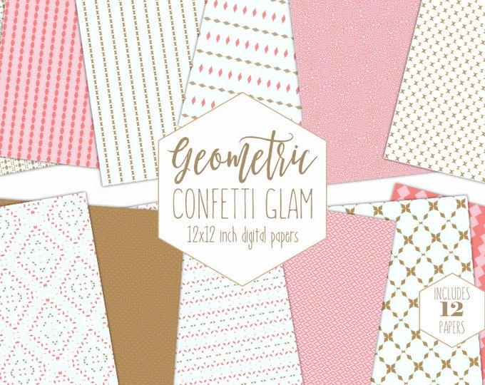 PINK & GOLD Digital Paper Pack Confetti Backgrounds Girls Geometric Scrapbook Paper Birthday Patterns Party Printable Commercial Use Clipart