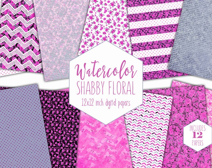 PINK WATERCOLOR FLORAL Digital Paper Pack Commercial Use Black Stripes Backgrounds Shabby Chic Scrapbook Papers Watercolour Flower Patterns