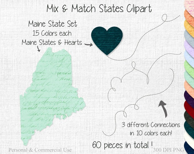 MAINE STATE to STATE Wedding Clipart Commercial Use Clipart Mix & Match Home United State Shapes Clipart Map Clipart Valentine's Day Clipart