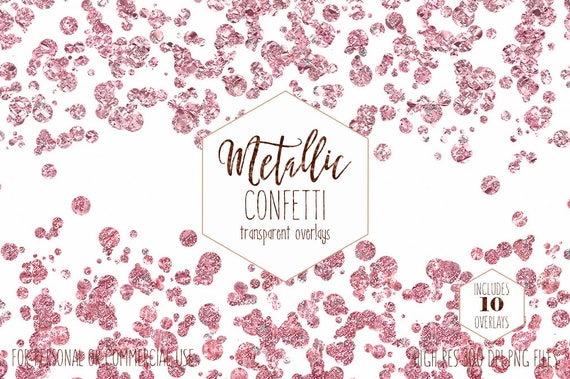 BLUSH PINK CONFETTI Overlay Clipart Commercial Use Clip Art