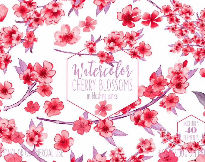 BLUSH PINK WATERCOLOR Cherry Blossoms Clipart Commercial Use Clip Art for Wedding Hand-Painted Sakura Branches Red Floral Wreath Graphics