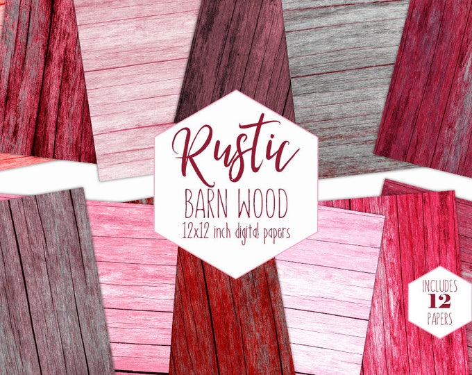 PINK & RED WOOD Digital Paper Pack Valentine's Day Backgrounds Barn Rustic Wood Scrapbook Paper Gray Wooden Texture Romantic Wedding Clipart