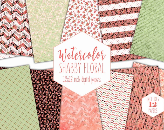 CHIC WATERCOLOR FLORAL Digital Paper Pack Commercial Use Mint & Peach Backgrounds Shabby Stripe Scrapbook Papers Watercolour Flower Patterns