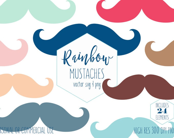 MUSTACHE CLIPART for Commercial Use Planner Sticker Clip Art Boys Birthday Party Photobooth Props Rainbow Colors Digital Vector Graphics Svg