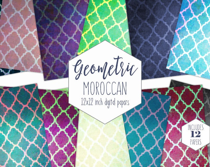 QUATREFOIL MOROCCAN Digital Paper Pack Geometric Backgrounds Morocco Scrapbook Paper Rainbow Patterns Party Printable Commercial Use Clipart
