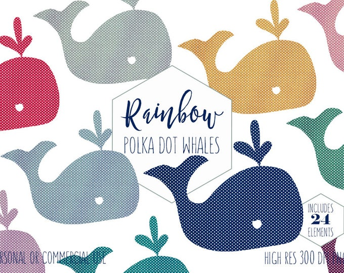 POLKA DOT WHALE Clipart for Commercial Use Planner Sticker Clip Art for Kids Cute Nautical Beach Ocean Animal Rainbow Color Digital Graphics