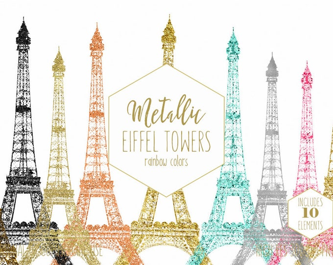 GOLD EIFFEL TOWER Clipart for Commercial Use Clip Art Rose Gold Paris Eiffel Towers Metallic Foil French Images Pink Black Digital Graphics