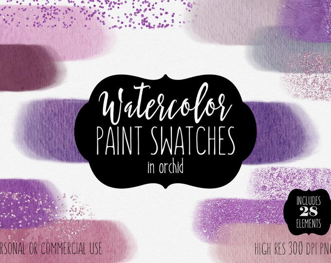 WATERCOLOR PAINT STROKES Clipart Commercial Use Clip Art 28 Watercolor Blue Purple Brush Rectangle Headers & Confetti Textures Logo Graphics