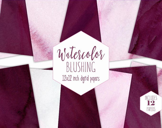 BLUSH & BURGUNDY WATERCOLOR Digital Paper Pack Commercial Use Pink Backgrounds Wedding Scrapbook Paper Bordo Wine Watercolour Wash Textures