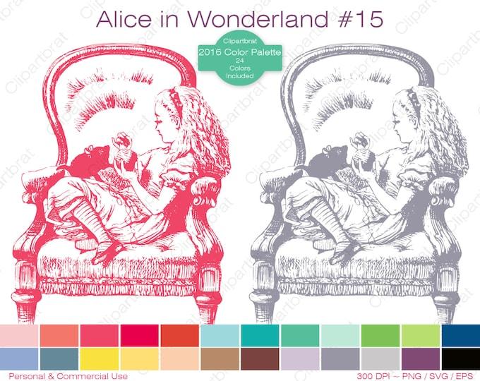 ALICE IN WONDERLAND Clipart Commercial Use Clipart Alice Kitten Graphic 2016 24 Color Palette John Tenniel Digital Stamp Vector Png Eps Svg