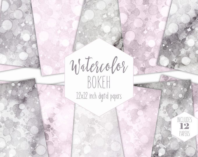 BLUSH PINK WATERCOLOR Digital Paper Pack Commercial Use Gray Backgrounds Bokeh Scrapbook Papers Grey Bubble Dot Watercolour Wedding Patterns
