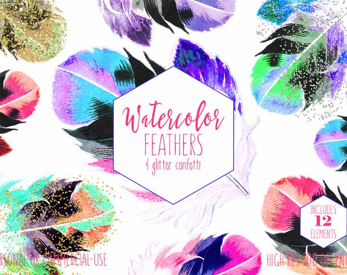 WATERCOLOR FEATHERS Clipart Commercial Use Clip Art Pink Peach Coral Mint Feathers Gold Confetti Rainbow Feather Boho Chic Tribal Graphics