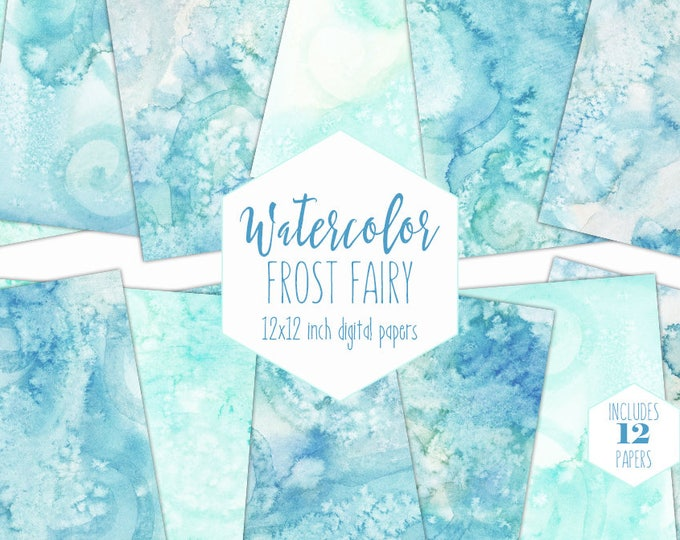 AQUA & TEAL WATERCOLOR Digital Paper Pack Commercial Use Backgrounds Ocean Blue Scrapbook Papers Winter Frost Watercolour Textures Clipart
