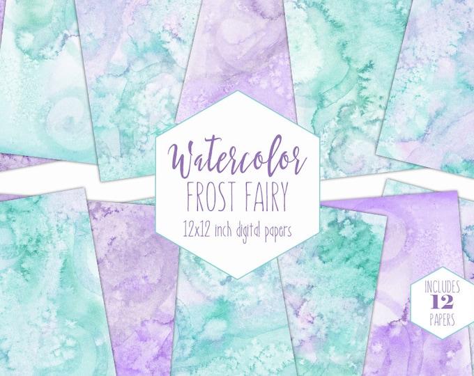 MINT & LAVENDER WATERCOLOR Digital Paper Pack Commercial Use Backgrounds Purple Frozen Scrapbook Papers Watercolour Textures Baby Clipart