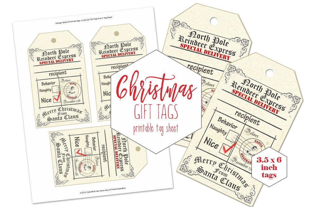 graphic about Free Printable North Pole Special Delivery Printable referred to as PRINTABLE Xmas Reward Tags for Little ones Huge Reputable Towards Santa Claus North Pole Reindeer Convey Naughty or Wonderful Do it yourself Vacation Dangle Tags