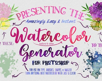 Watercolor Generator for Photoshop Quickly create watercolour Textures & Graphics Commercial Use Watercolour Creator Includes Vector Shapes