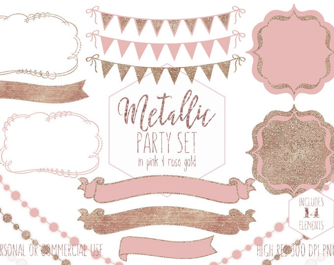 PINK PARTY CLIPART for Commercial Use Planner Clip Art Rose Gold Bunting Banner Glowing Lights Birthday Baby Shower Wedding Digital Graphics
