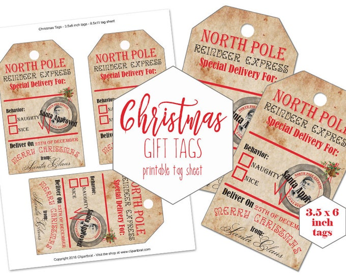 PRINTABLE CHRISTMAS TAGS Large Christmas Gift Tag Sheet From Santa Claus North Pole Reindeer Express Diy Holiday Labels Naughty or Nice Tags