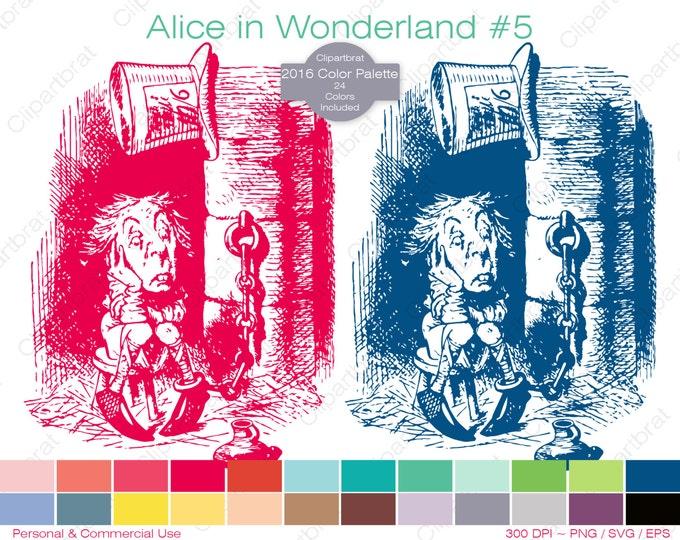 ALICE IN WONDERLAND Clipart Commercial Use Clipart Mad Hatter Graphic 2016 24 Color Palette John Tenniel Digital Sticker Vector Png Eps Svg
