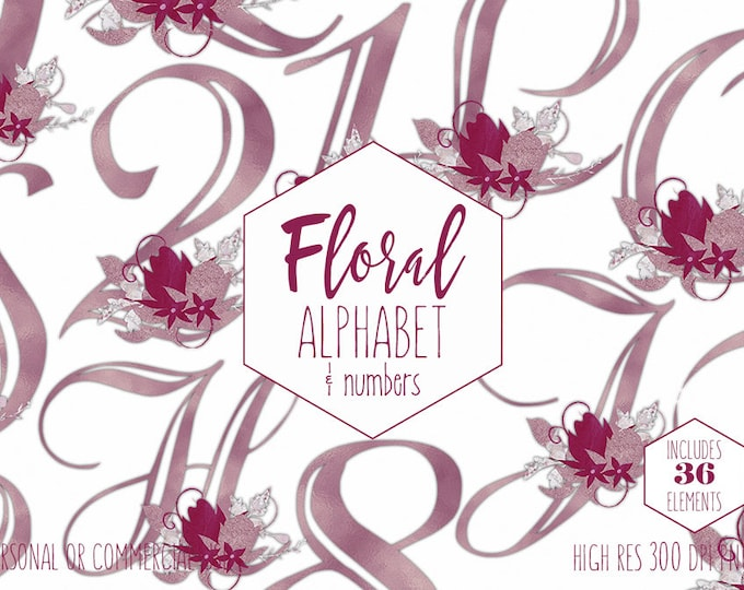BURGUNDY FLORAL ALPHABET Clipart for Commercial Use Wedding Monogram Clip Art Violet Foil Letters & Numbers Flower Bouquet Digital Graphics