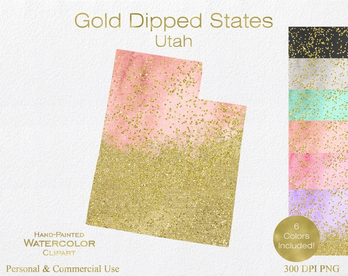 WATERCOLOR & GOLD UTAH Clipart Commercial Use Clipart United States Shapes Wedding Clipart Gold Confetti Dust Utah Clip Art Graphics