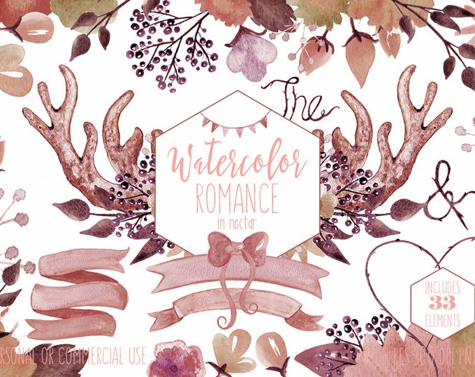 DEER ANTLER FLORAL Clipart Commercial Use Clip Art Peach Flowers Rustic Floral Bouquets Watercolor Digital Background Paper Wedding graphics