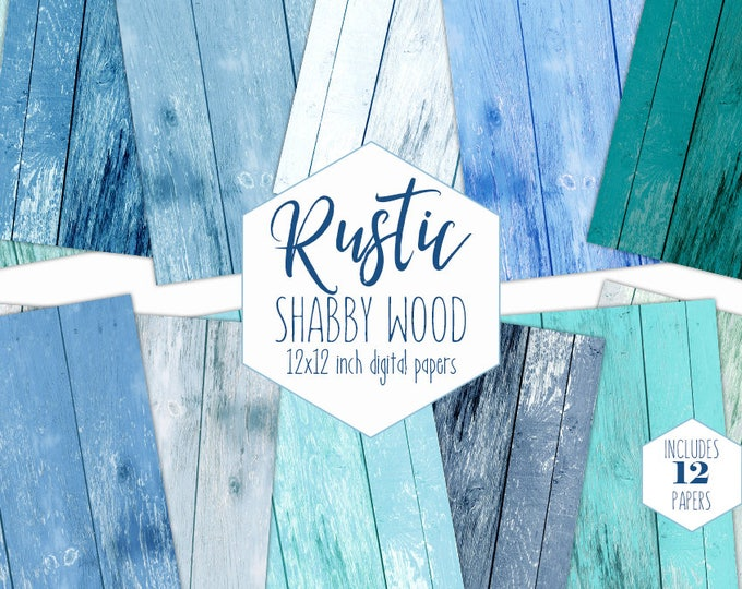 BLUE BEACH WOOD Digital Paper Pack Aqua Mint Painted Wood Grain Backgrounds Ocean Shabby Chic Scrapbook Papers Wood Board Textures Clipart