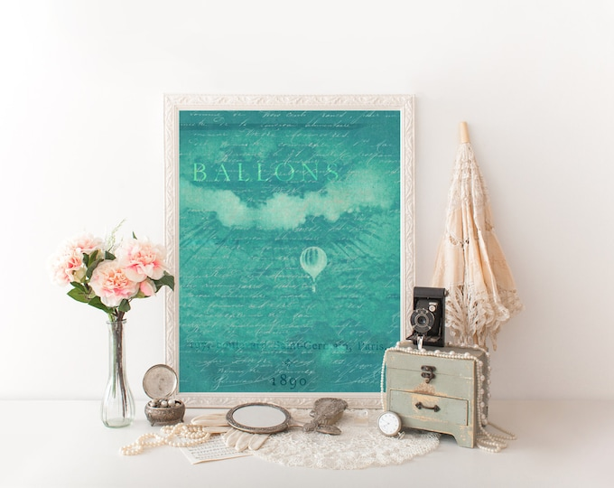HOT AIR BALLOON Digital Print Aqua Hot air balloon Art Print French Typography Ballon Paris Nursery Art Print Digital Hot air balloon Art