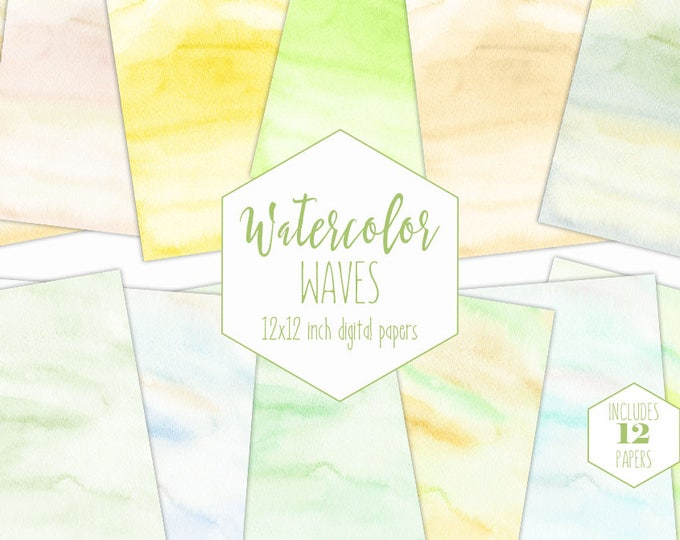 YELLOW WATERCOLOR Digital Paper Pack Commercial Use Pastel Backgrounds Spring Green Peach Mint Baby Scrapbook Paper Watercolor Wash Textures