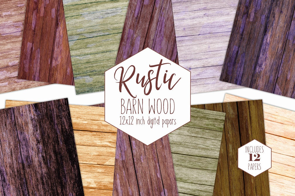 Rustic Wood Digital Paper Pack Red Barn Backgrounds