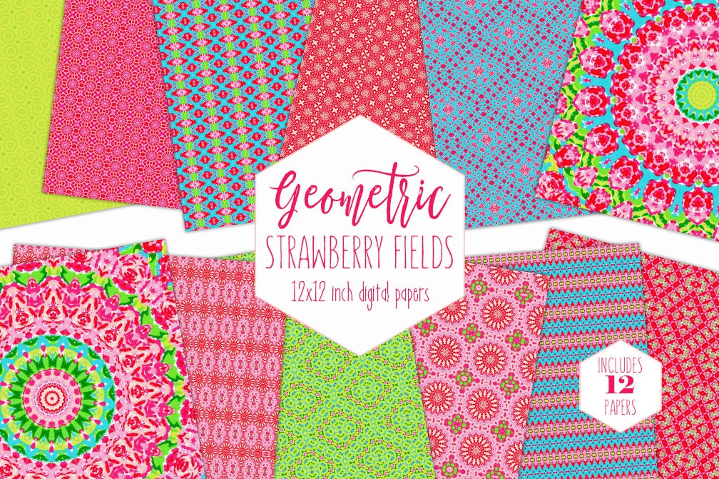 Bright Pink Summer Digital Paper Pack Strawberry Lime Green