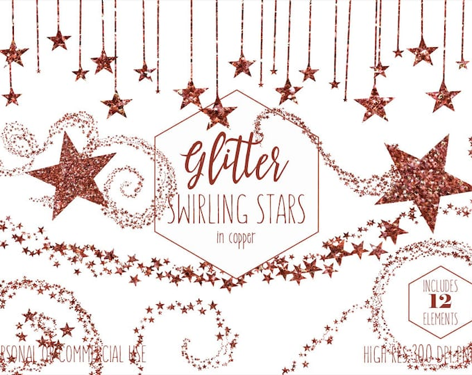COPPER GLITTER STAR Clipart Commercial Use Clip Art Rust Metallic Stars Celestial Sky Images Bunting Banner Baby or Party Digital Graphics