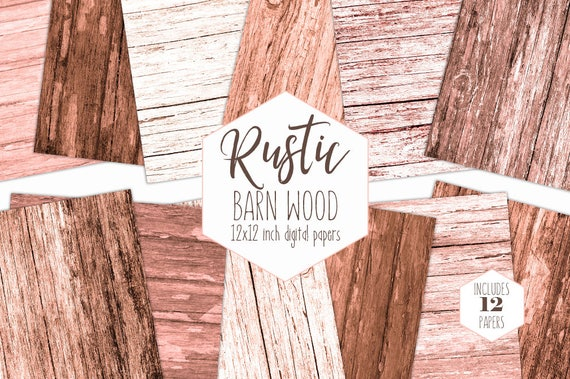 Rustic Peach Wood Digital Paper Pack Brown Tree Bark Backgrounds Wood Grain Scrapbook Papers Wooden Board Patterns Textures Commercial Use