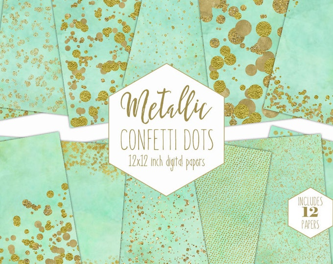 GOLD FOIL & MINT Digital Paper Pack Confetti Dot Backgrounds Metallic Gold Scrapbook Paper Wedding Pattern Party Printable Commercial Use