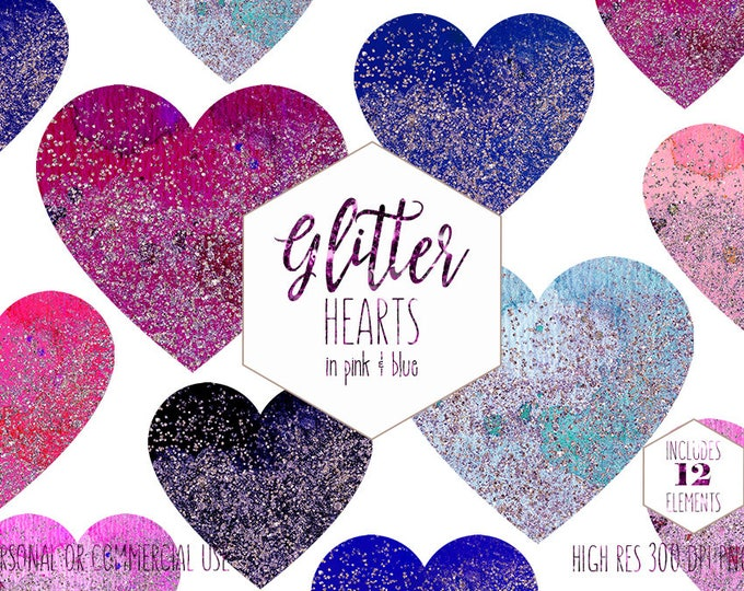 CONFETTI HEARTS Clipart for Commercial Use Clip Art Watercolor Hearts with Metallic Glitter Pink Blue Heart Shapes Planner Digital Graphics