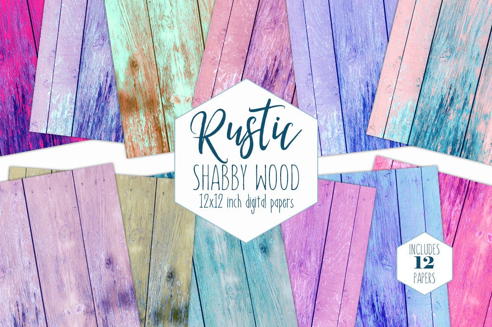 Chic Painted Wood Digital Paper Pack Chipped Wood Paint Backgrounds Rainbow Scrapbook Paper Shabby Wood Grain Printable Textures Clipart