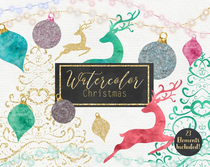WATERCOLOR CHRISTMAS CLIPART Commercial Use Clip Art Gold Christmas Trees Reindeer Ornaments Lights Holiday Digital Clipart Instant Download