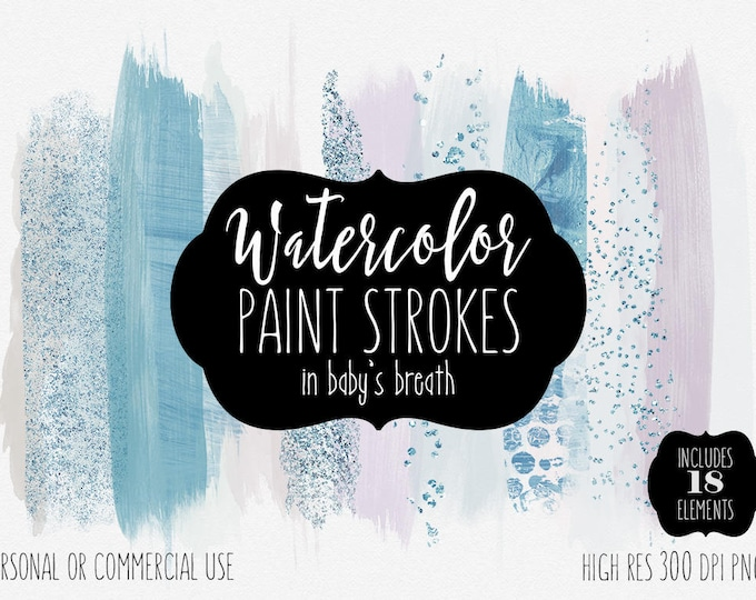BLUSH WATERCOLOR BRUSH Strokes Clipart Commercial Use Clip Art Watercolor Paint Strokes Header Blush Pink & Baby Blue Confetti Logo Graphics