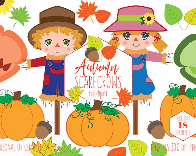AUTUMN SCARECROW CLIPART for Commercial Use Planner Clip Art Cute Boy & Girl Pumpkins Sunflowers Acorns Leaves Fall Kids Digital Graphics