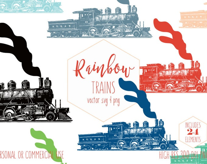 TRAIN CLIPART for Commercial Use Boys Clip Art Train Engines Vintage Steam Locomotive Trains Rainbow Colors Vector Digital Graphics Svg