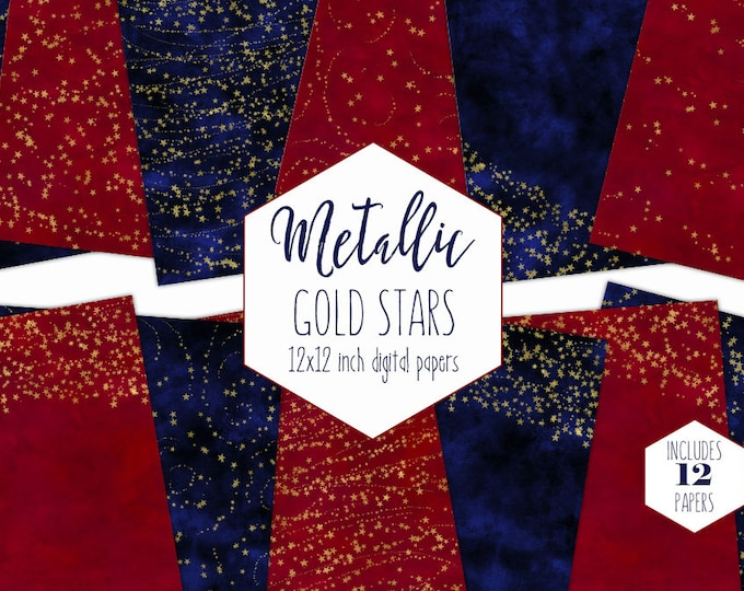 RED & NAVY BLUE Stars Digital Paper Pack Gold Foil Star Backgrounds Watercolor Scrapbook Papers 4th of July Patterns Party Printable Clipart