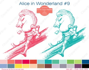 ALICE IN WONDERLAND Clipart Commercial Use Clipart White Knight Graphic 2016 24 Color Palette John Tenniel Digital Stamp Vector Png Eps Svg