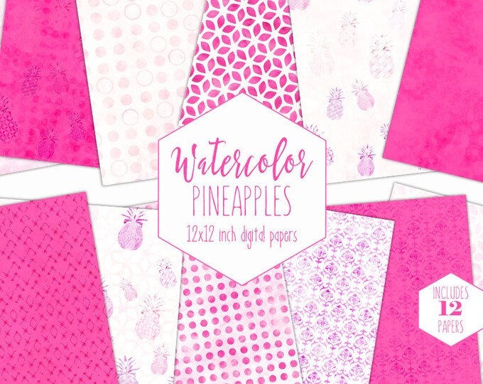 PINK TROPICAL PINEAPPLE Digital Paper Pack Commercial Use Hot Pink Backgrounds Watercolor Pineapple Scrapbook Paper Geometric Beach Patterns