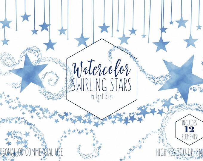 LIGHT BLUE STAR Clipart Commercial Use Clip Art Star Trail Graphics Star Sky Border Frames Banner Clipart For Baby Shower Digital Graphics