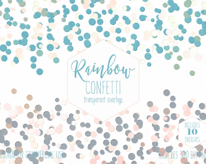 PARTY CONFETTI BORDER Clipart for Commercial Use Clip Art Transparent Overlays Pink Blue Purple Rainbow Birthday Invitation Digital Graphics