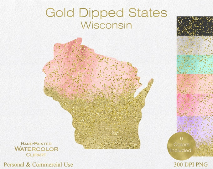 WATERCOLOR & GOLD WISONSIN Clipart Commercial Use Clipart United States Shapes Wedding Clipart Gold Confetti Dust Wisconsin Clip Art