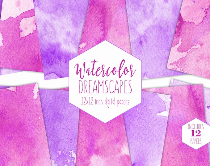 LAVENDER & PINK WATERCOLOR Digital Paper Pack Commercial Use Backgrounds Hot Pink Splatter Scrapbook Papers Purple Watercolour Wash Textures