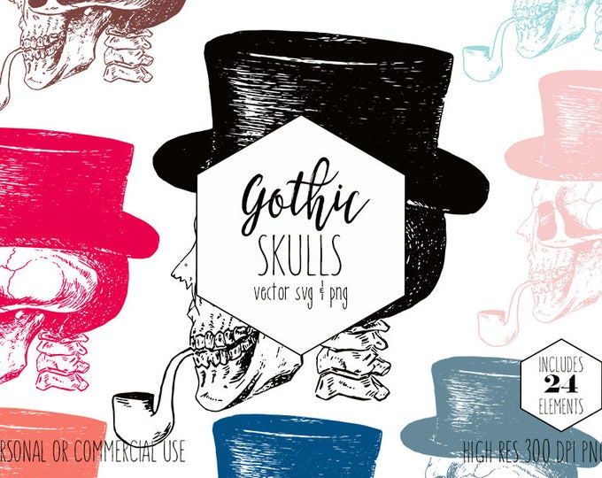 TOP HAT SKULL Clipart for Commercial Use Spooky Clip Art Halloween Skull Smoking a Pipe Vintage Gothic Victorian Era Vector Digital Graphics