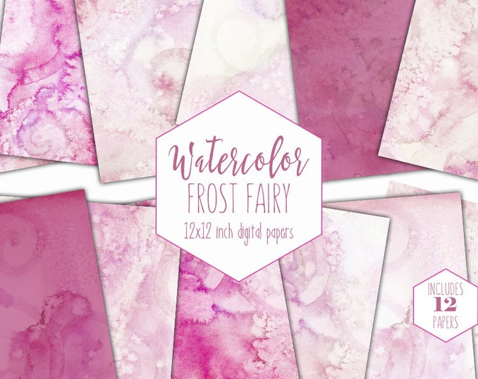 ROSE PINK WATERCOLOR Digital Paper Commercial Use Backgrounds Blush Scrapbook Paper Frost Fairy Hand Painted Real Pink Watercolor Textures